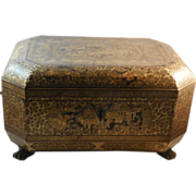 Handsome Chinese Lacquer Sewing Box.  Circa 1850