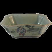 Chinese Porcelain Bowl.  Celadon Ground.  19th C