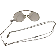 Edwardian Gold Plated Pince Nez Eyeglasses on Chain