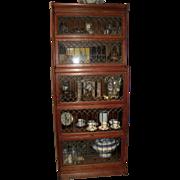 Oak Five-Stack Barrister Bookcase Leaded Glass