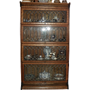 Four Stack Oak Barrister Bookcase with Leaded Glass