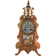 French Gilded Clock with Porcelain Tiles.  19th century