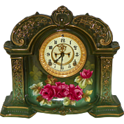 Royal Bonn Porcelain Case Clock Ansonia Movement
