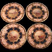 Rare Set of Four Harry Stinton Royal Worcester Plates