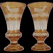 Pair of Bohemian Amber Cut Glass Vases.  Circa 1920
