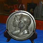 Napoleon & Marie-Louise Bronze Plaque. Circa 1810.