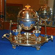 English Silverplate Egg Boiler with Four Cups. Circa 1920.
