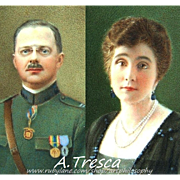 Watercolor Portrait Miniatures/Pair by Adelaide Tresca Italian 1919~1920