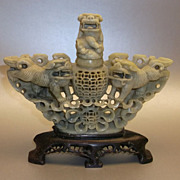 SOLD Antique Chinese Hand Carved Soapstone Incense Burner Foo Dogs