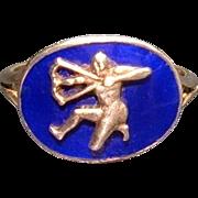 Rare 1820 Antique Georgian Neo-Classic Silver Royal Blue Enamel Sagittarius Zodiac Ring