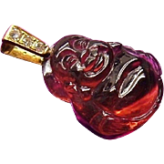 Stunning Carved Natural Rubellite Tourmaline Budai 14k Gold Diamond Pendant