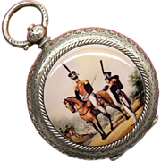 Antique Swiss Enamel 935 Silver Russian Hussar Pocket Watch 19th Century
