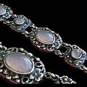 Arts Crafts Bernard Instone Sterling Silver Rose Quartz Cabochon Bracelet 1930's