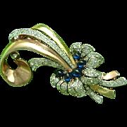 Trifari Alfred Philippe Gold Plate Fur Clip Faux Sapphire & Diamond 1940s