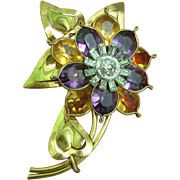 SALE Bold Pennino Triple Cluster Flower Gold Tone Brooch 1930s