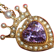 Antique Rare 15k Gold Amethyst Pearl Heart Crown Scottish Pendant ca 1880