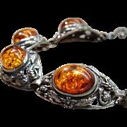 Fine Silver/925 Baltic Honey Amber Cabochons Bracelet Hallmarked