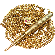 Antique Victorian Guard/Muff/Watch Slider Chain Pencil Pendant Necklace Gold Plated 1880's