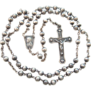 SALE Antique French Silver Rosary Crucifix Cross Signed ca 1900 Religious Artefact