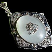 Theodor Fahrner Art Deco Sterling Silver Enamel Marcasite Pendant 1920's