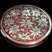 Antique Sterling Silver Enamel Austrian Powder Compact Box Daisy Ornament