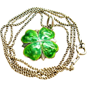 Antique James Fenton Enamel Sterling Silver Clover Pendant/Charm Necklace 1909 Art Nouveau
