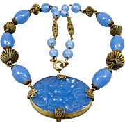 SALE PENDING Art Deco Signed Czech Necklace Chalcedony Blue Glass Brass Filigree