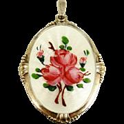 SALE Arne Nordlie Norway Sterling Silver Guilloche Enamel Roses Pendant