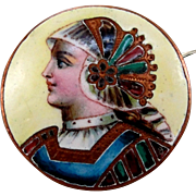 SALE Antique Victorian Limoges Enamel Portrait Brooch