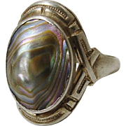 1915 Art Nouveau Deco Rainbow Abalone Shell Blister Pearl Sterling Silver Ring Size 4.5