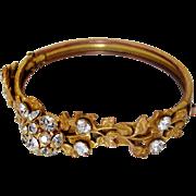 SALE Antique Art Nouveau Bangle Bracelet Paste Crystals Gilt Brass Edwardian