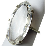 SALE PENDING Vintage Sterling Silver Clear Crystal Cocktail Ring Gorgeous & Glam