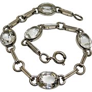 SOLD Retro Clear Faceted Crystals Sterling Silver Bracelet