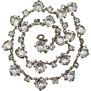 1930's Sterling Silver Clear Crystal Glass Riviere Necklace Art Deco