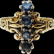 SALE Antique Victorian 14K Gold Blue Spinel Ring 6.5