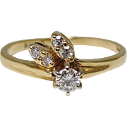 SALE Elegant 14K Gold Diamond Flower Bud Ring Size 5.5