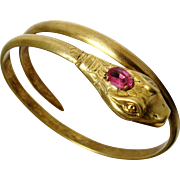 REDUCED Antique Art Nouveau Coiled Snake Bracelet Pink Glass Gilt Brass Open Mouth