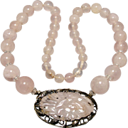 SOLD Art Deco Sterling Silver Carved Rose Quartz Gemstone Necklace