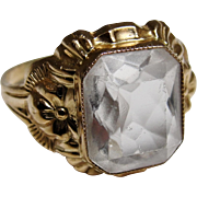 SOLD Budlong Docherty Armstrong Art Deco 10K Gold Aquamarine Gemstone Ring Size 5