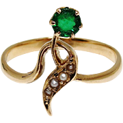 SALE PENDING Art Nouveau Russian 14K Gold Ring 1908-1917 Belle Epoque Green Stone Seed Pearls