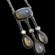 SALE PENDING Edwardian Chalcedony Gemstone Necklace Sterling Silver MOP European Arts & Crafts