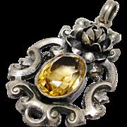 SALE PENDING German Arts & Crafts Citrine & Sterling Silver Pendant Sculpted Roses Marked Germ
