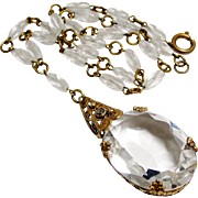 Art Deco Signed Czech Necklace Clear Glass Gilt Brass Filigree