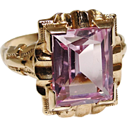 Art Deco 10K Gold Pink Sapphire Ring Size 6 1930's
