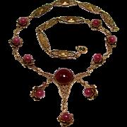 1915 Arts & Crafts Festoon Necklace Plum Satin Glass Sculpted Roses Brass Filigree
