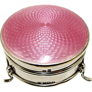 SOLD 1920's Art Deco English Sterling Silver Pink Guilloche Enamel Ring Box Casket