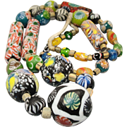 SALE Exceptional Venetian Millefiori Glass African Trade Bead Necklace
