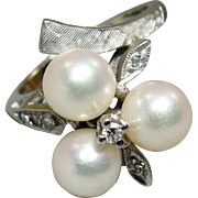 SALE 14K White Gold Diamonds Cultured Pearls Clover Cocktail Ring Size 6