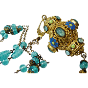 SOLD Rare 20's Signed Czech Aquamarine Glass Enamel Lantern Filigree Flapper Necklace