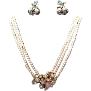 VIntage Robert Demi Parure:  Faux Pearl Choker Necklace with Ornate Centerpiece and Earrings